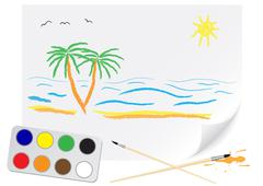 Drawing summer Stock Illustration