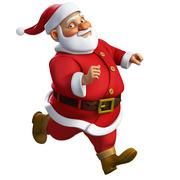 3d cartoon santa run - stock illustration