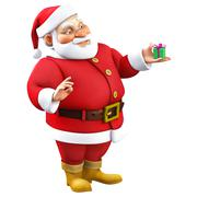 3d cartoon santa with present - stock illustration
