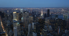 Ultra HD 4K Dawn Light Skyline Aerial View New York City NYC American Buildings Stock Footage