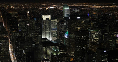 UHD 4K Night llumination Aerial View New York City NYC Crowded Buildings Area Stock Footage
