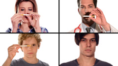 anti-smoking video, collage - stock footage