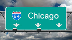 Chicago - Interstate 94 Sign Time Lapse - stock footage