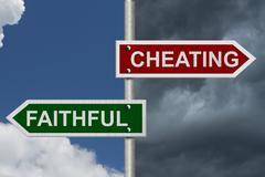 cheating versus faithful - stock illustration