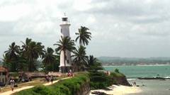 View of the lighthouse Galle fort Stock Footage