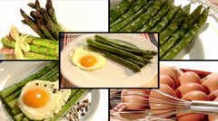 Asparagus bismarck style, collage Stock Footage