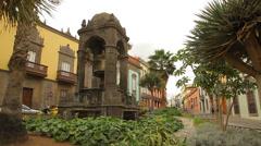 Plaza Espiritu Santo in Las Palmas de Gran Canaria Spain Stock Footage