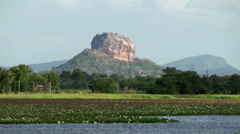 View of the Sigiriya mount (Lion rock) from the river. Sri Lanka. Stock Footage
