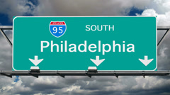 Philadelphia - Interstate 95 Sign Time Lapse Stock Footage