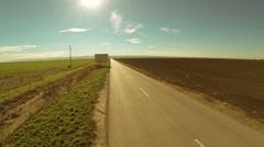 Asphalt Road Through Fields - stock footage