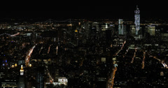 Ultra HD 4K Night Aerial View New York City Cityscape NYC Metropolitan Scenic Stock Footage