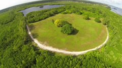 Aerial view of Chapman Field Park Stock Footage