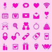 Valentine's day pink icons on light background Stock Illustration