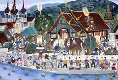 Loy kratong festival in thai temple mural Stock Photos