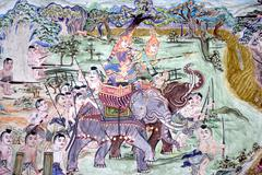 War elephants in thailand mural Stock Photos