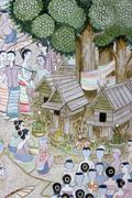 Mural in chiangmai thailand temple Stock Photos