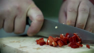 Stock Video Footage of Cutting paprika in slow motion