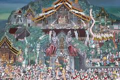 thai tradition in temple's mural - stock photo