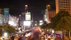 Time Lapse of Traffic on Ratchadamri Road in Bangkok, Thailand Stock Footage
