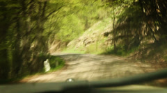 Mountain road: Rally Racing car inside windshield view Stock Footage
