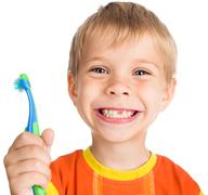 Boy without one teeth with toothbrush Stock Photos