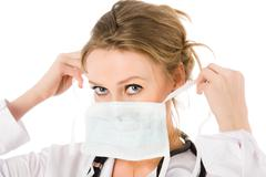 female doctor dress mask - stock photo