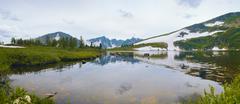 mountain lake in siberia - stock photo