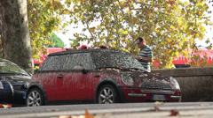 Mini covered in bird pooh 1 Stock Footage