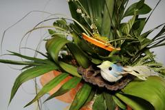Dried Flower Bouquet and  Birdie . - stock photo