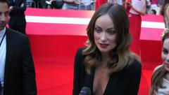 Olivia Wilde on the red carpet at the London Premiere of Rush. Stock Footage