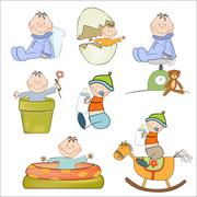 new baby boy items set isolated on white background - stock illustration