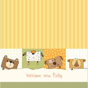 baby shower card with funny cube animals - stock illustration