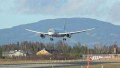 Boeing 787 Dreamliner Landing Slow Motion Stock Footage