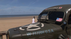 Dodge ambulance on Omaha beach.mp4 Stock Footage