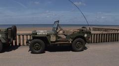Jeep  on Omaha beach .mp4 Stock Footage