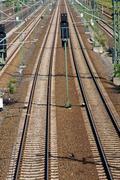 Long straight railroad tracks Stock Photos