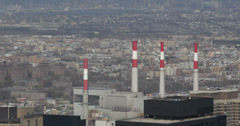 Ultra HD 4K Industrial Ravenswood Generating Station Skyline Aerial View NYC USA Stock Footage