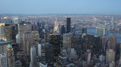 Dawn Light Aerial View New York City Skyline NYC Tourist Attraction Illuminated Stock Footage