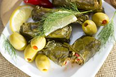 Mediterranean meal plate - grape leaves stuffed with rice. Stock Photos
