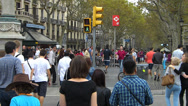Stock Video Footage of Spain Catalonia Barcelona crowded La Rambla Crowds Busy Bustle hectic