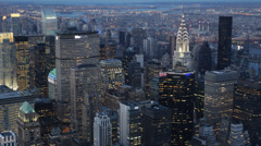 Dusk Light Aerial View New York City Downtown Skyline Business Center Evening Stock Footage