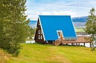 Stock Photo of typical holiday house at north iceland