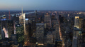 Dusk Downtown Skyline Aerial View New York City Fifth Avenue 5th Traffic Night Footage
