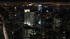Night llumination Aerial View New York City NYC Crowded Buildings Area Citigroup Stock Footage