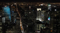 Night Illuminated Aerial View New York City Downtown Manhattan Skyline Evening Footage