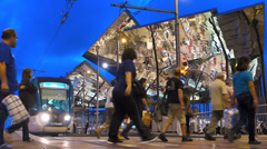 Spain Catalonia Barcelona busy bustling Tram station Placa de les Glories Stock Footage