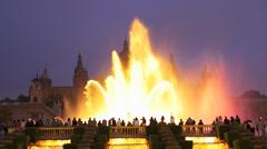 Spain Catalonia Barcelona Magic Fountain n Catalonia Art Museum at dusk Stock Footage