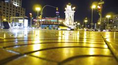 Stock Video Footage of Spain Catalonia Barcelona Plaza Espanya night busy bustling bustle cross-walk