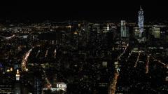 Night llumination Aerial View New York City Cityscape NYC Metropolitan Scenic Stock Footage