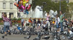 Spain Catalonia Barcelona Plaza de Catalunya square fountain tourists Stock Footage